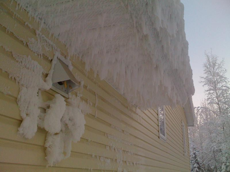 Do not locate exhaust vents under the eaves